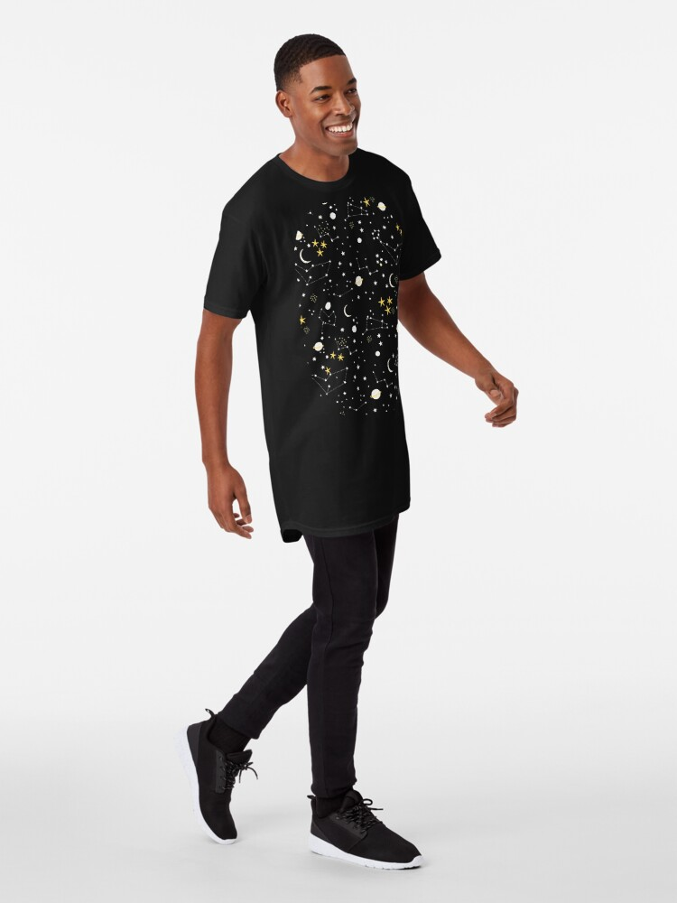 Alternate view of cosmos, moon and stars. Astronomy pattern Long T-Shirt