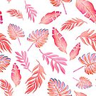 coral pink watercolor painted palm leaf  by MagentaRose