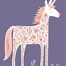 Unicorn with Flowers Purple by Nic Squirrell