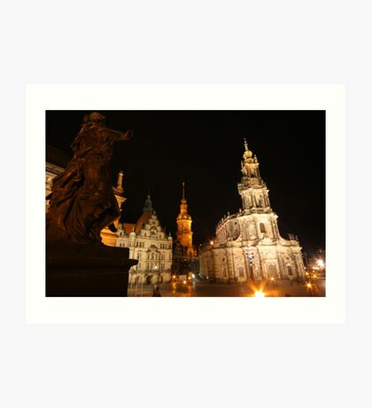 Night Ensemble of Dresden at Elbe River Art Print