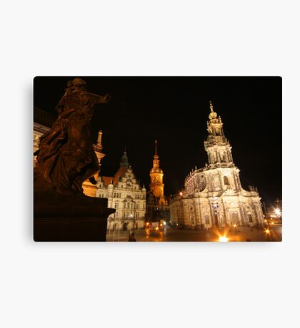 Night Ensemble of Dresden at Elbe River Canvas Print