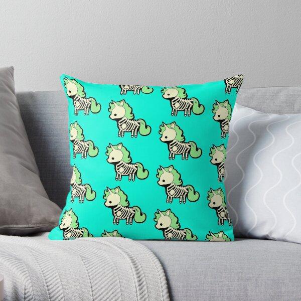 Skeleton Unicorn Throw Pillow