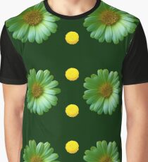 Yellow And Green Flowers Design Graphic T-Shirt