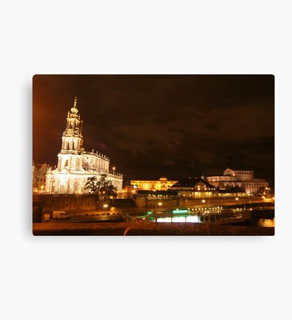 Nocturnal panorama of Dresden at the River Elbe Canvas Print