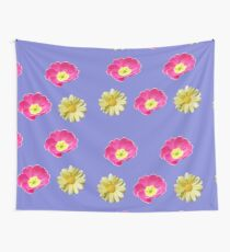 Pink And Yellow Flower Design Wall Tapestry
