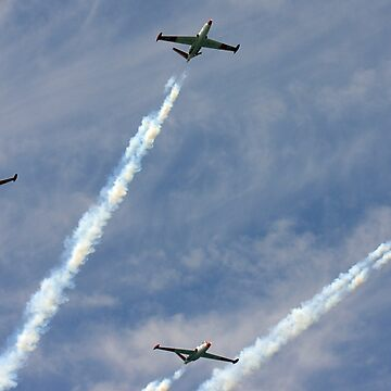 4 Israeli Air force Fouga Magister CM-170 in aerobatics display by PhotoStock-Isra
