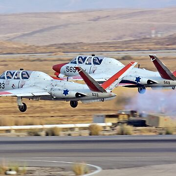 2 Israeli Air force Fouga Magister CM-170 in aerobatics display by PhotoStock-Isra