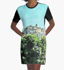 View of the village of Scalea Graphic T-Shirt Dress