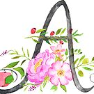 Letter A calligraphy watercolor flowers by ColorandColor