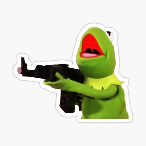 Kermit Gun Meme Sticker