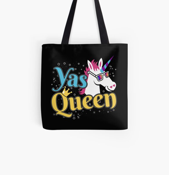 and Transgender Yas Queen Cute Funny Unicorn For Strong Women Lgbtq Fashion Zip Tote Bag