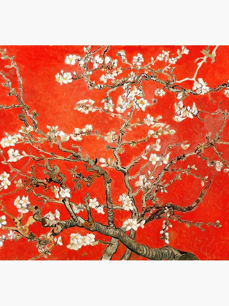 Red Almond Blossoms Van Gogh (new color edit) by DejaVuStudio