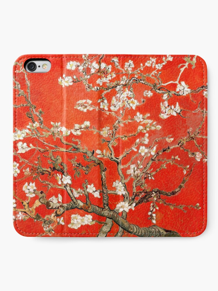Alternate view of Red Almond Blossoms Van Gogh (new color edit) iPhone Wallet