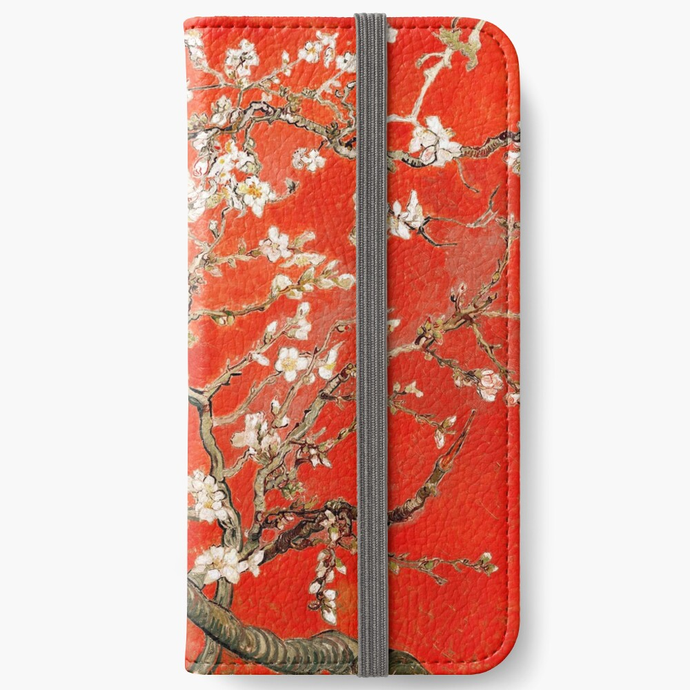 Red Almond Blossoms Van Gogh (new color edit) iPhone Wallet