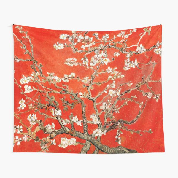 Red Almond Blossoms Van Gogh (new color edit) Tapestry