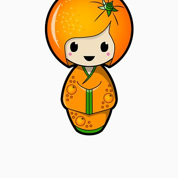 Orange Kokeshi Doll by BubbleDoll