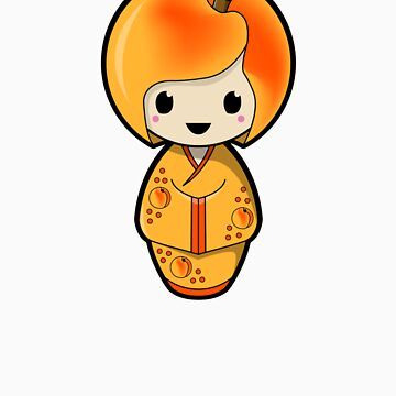 Peach Kokeshi Doll by BubbleDoll