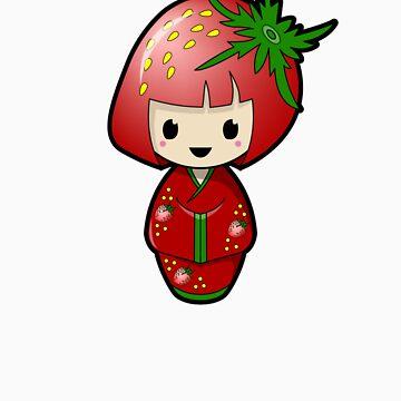 Strawberry Kokeshi Doll by BubbleDoll