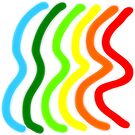 Blue Green Yellow Orange Red Wavy Lines by Vicky Brago-Mitchell