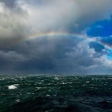 Full Rainbow In Rough Seas by DARRINSWORK