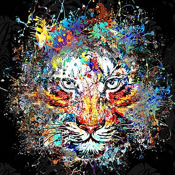 Tiger Art, Jungle Cat Splash Paint by MDAM