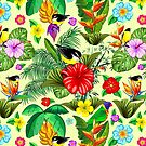 Birds and Nature Floral Exotic Seamless Pattern by BluedarkArt