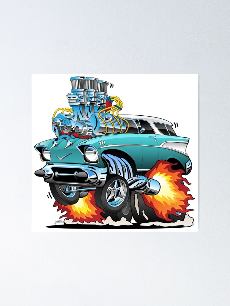 Alternate view of Classic Fifties Hot Rod Muscle Car Cartoon Poster