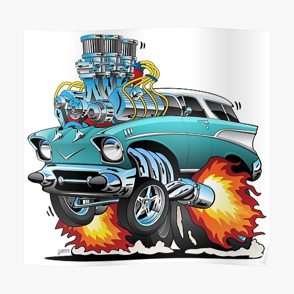 Classic Fifties Hot Rod Muscle Car Cartoon Poster