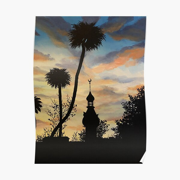 Tampa Plant Hall Sunset Silhouette Poster