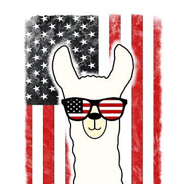 Us Flag Patriotic Alpaca Llama by Mmastert