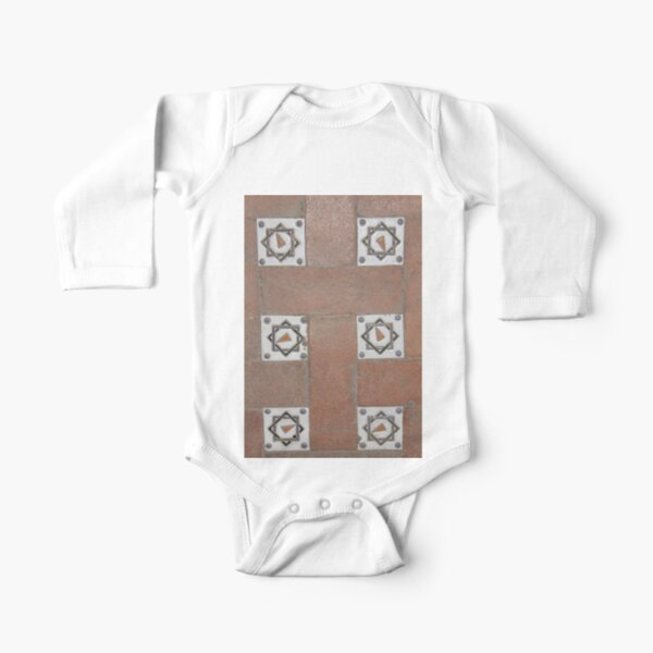 #OldTile, #Old, #Tile, #design, #decoration, #art, #retro, #oldfashioned, #durability Long Sleeve Baby One-Piece