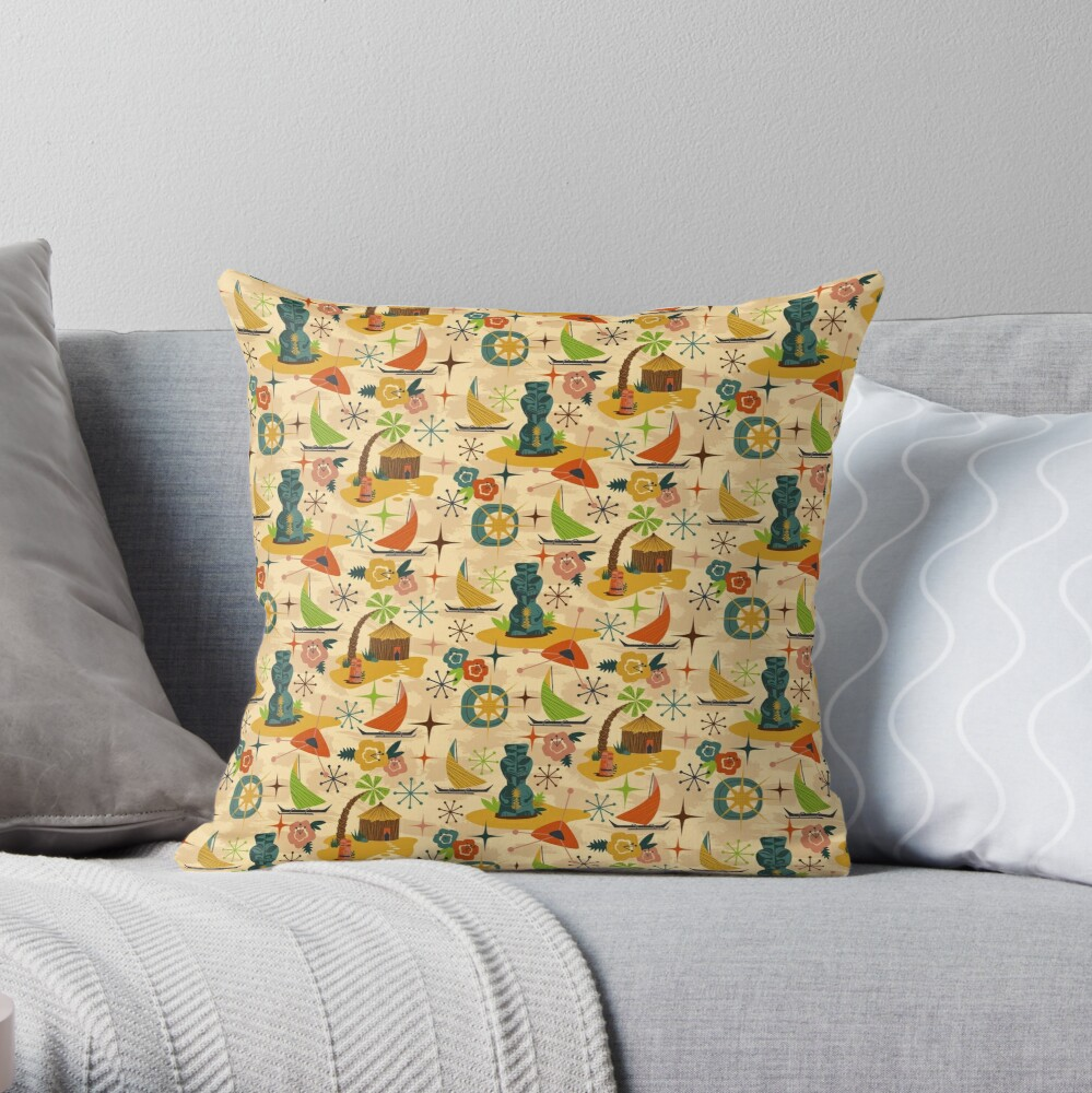 Mid Mod Tiki Throw Pillow