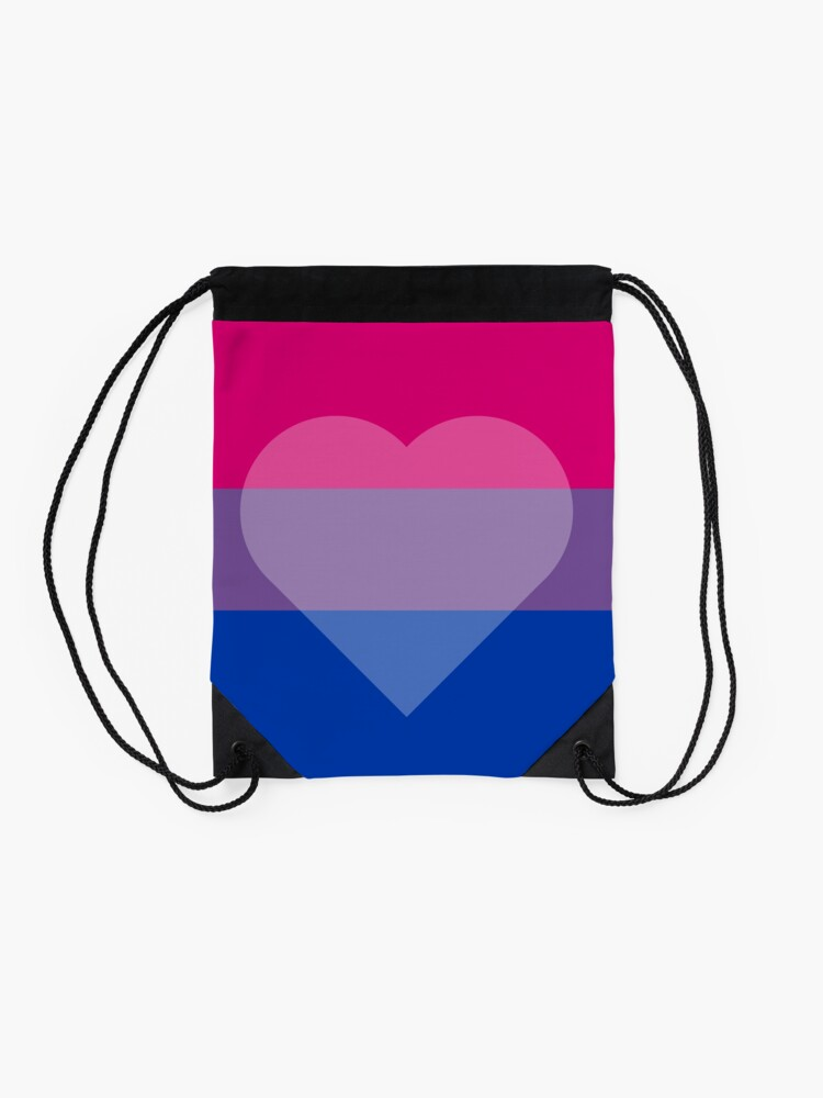 Alternate view of Bisexual Flag + Transparent Heart Drawstring Bag