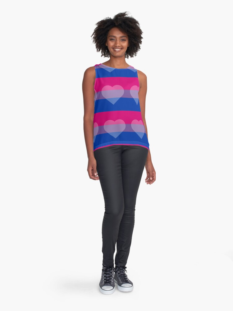 Alternate view of Bisexual Flag + Transparent Heart Sleeveless Top