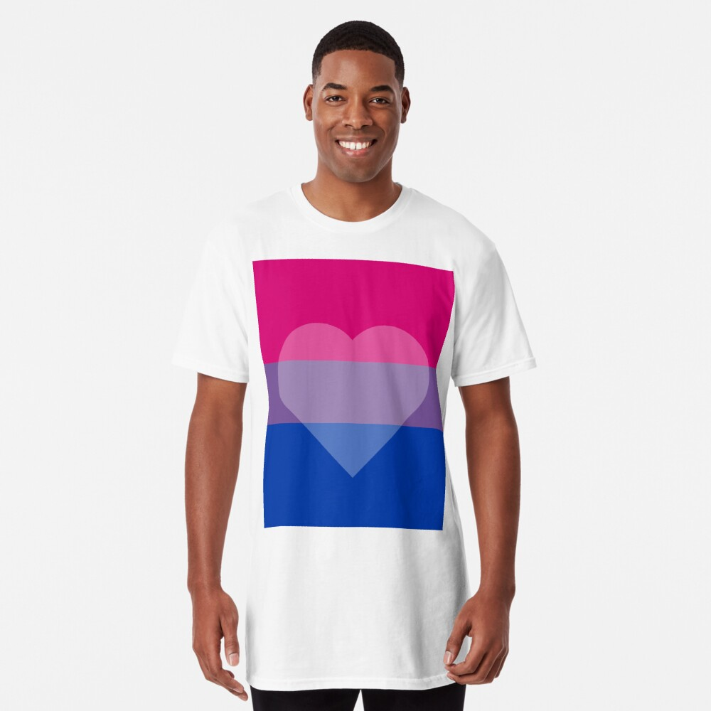 Bisexual Flag + Transparent Heart Long T-Shirt