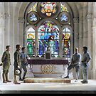 French and American soldiers at the altar of St. Joan of Arc Church (Basilique du Bois Chenu) near Domrémy, France. 9/15/1918. by Marina Amaral
