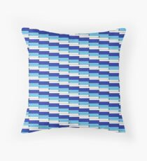 Staggered Oblong Rounded Lines Blues and White - Stripe Pattern Throw Pillow