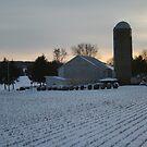Snow covered farm by MandieM