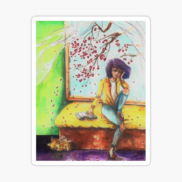 Melancholy Cherry Blossom (watercolor) Sticker