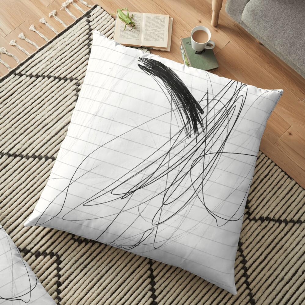 #lineart #face #blackandwhite #head sketch wing monochrome artwork Floor Pillow