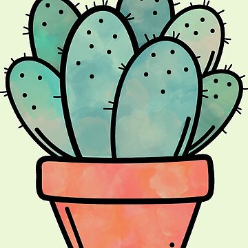 Potted Cactus Watercolor by NestToNest