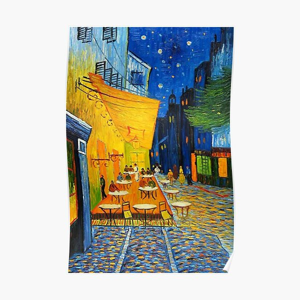 Cafe Terrace At Night Vincent Van Gogh Restored Poster