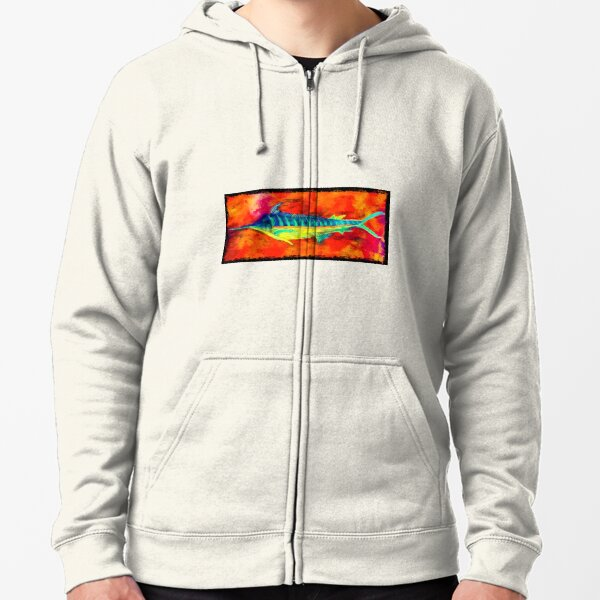 Blue Marlin - Anchored By Fin Zipped Hoodie