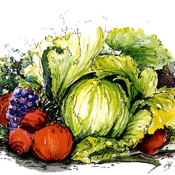 Lettuce Eat - Watercolour and Ink Painting  by Heatherian