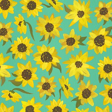 Sunflowers Acrylic on Turquoise by catcoq