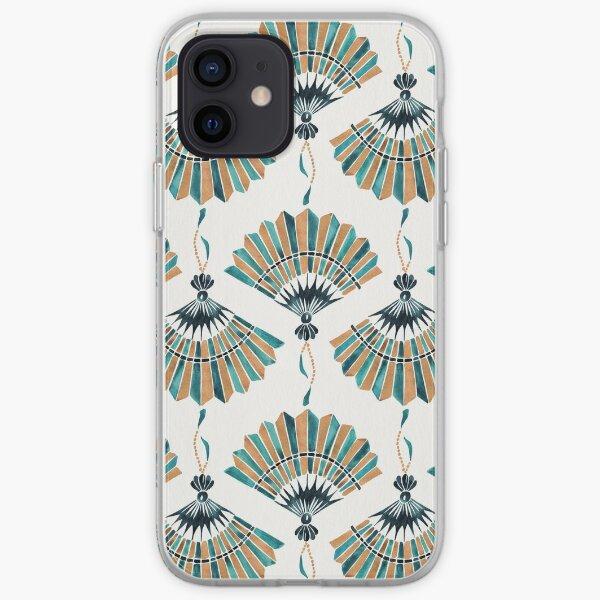 Folding Fan – Teal & Gold Palette iPhone Soft Case