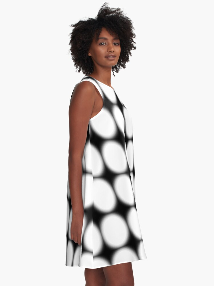 Alternate view of #abstract, #pattern, #design, #illusion, #art, #bright, #square, #shape A-Line Dress