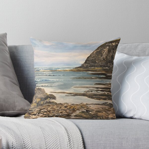 The Headland at Staithes on the North Yorkshire Coast Throw Pillow