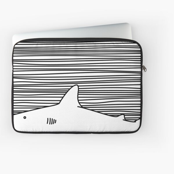 Minimalist Line Drawing Simple Unique Shark Fin Gift Laptop Sleeve