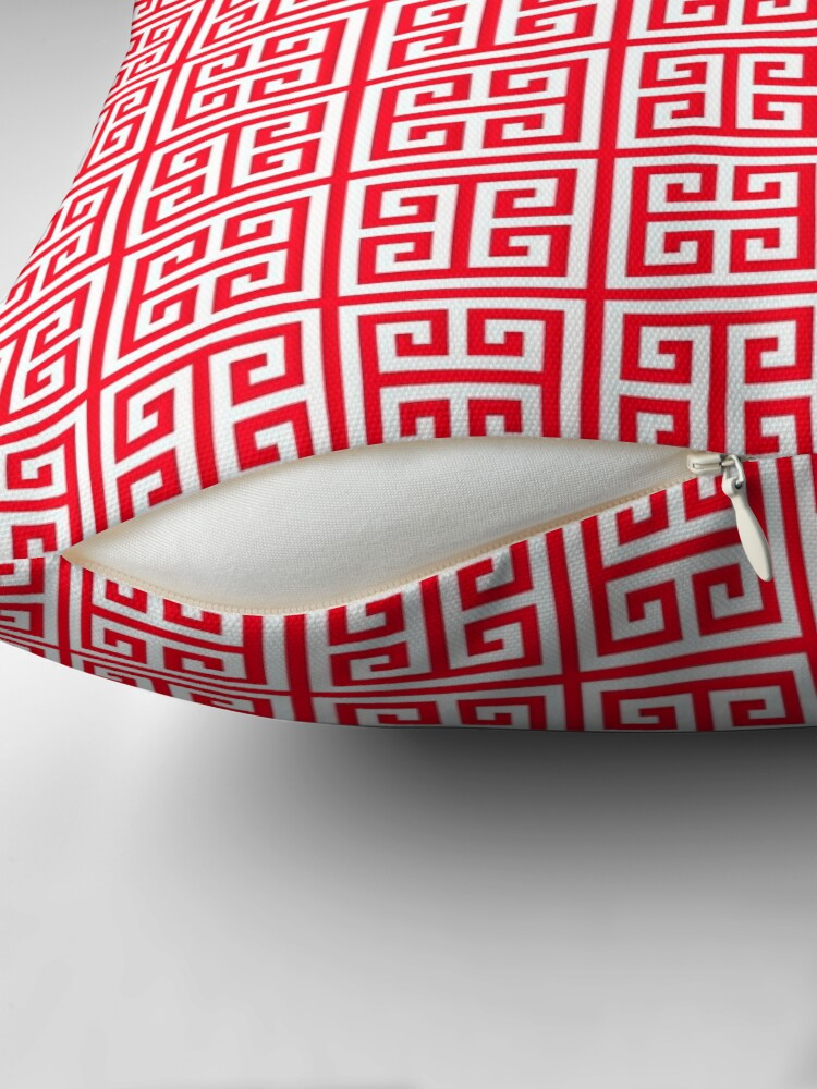 Alternate view of red Greek Key pattern - Greek fret design Throw Pillow
